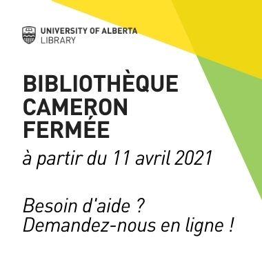 bibliotheque cameron ferme a partir du 11 avril