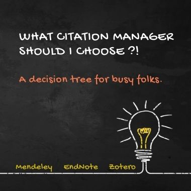what citation manager should I choose? text on black background with white drawing of lightbulb