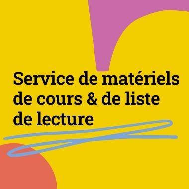 service de materiels de cours & de liste de lecture